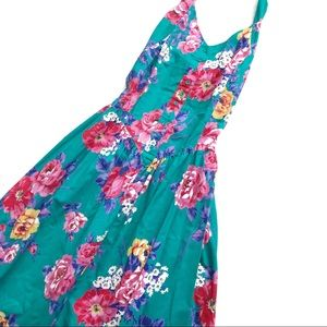 Vintage Floral Midi Halter Dress